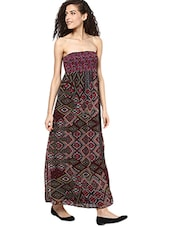 Multicolored Printed Tube Maxi Dress - By