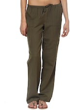 Solid Olive Green Linen Pants - By