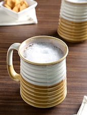 Off White And Brown Ceramic Studio Beer Mug Set - By