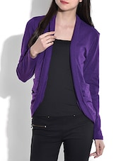 Solid Violet Acrylic Spandex Shrug - By
