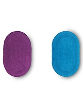 Set Of 2 Purple And Sky Blue Oval Reversible Cotton Doormats - By