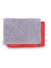Set Of 2 Red And Grey Rectangular Ribbed Cotton Doormats - By