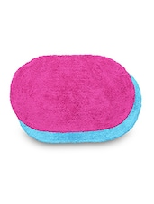 Set Of 2 Sky Blue And Pink Oval Cotton Doormats - By
