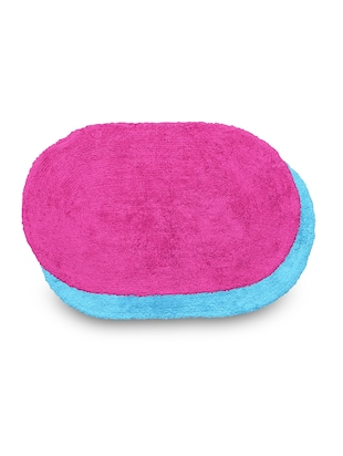 set of 2 sky blue and pink oval cotton doormats