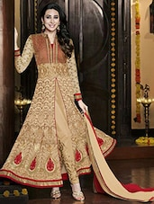 Beige Semi Stitched Georgette Dress Material - By