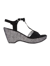Black Party Wedge With Buckle - Urban Country