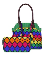 Multi Colour Cotton Handbag And Wallet - By