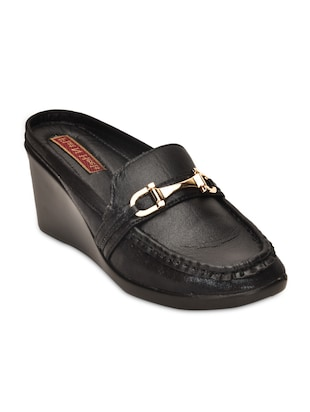 Black Faux Leather Slip Ons