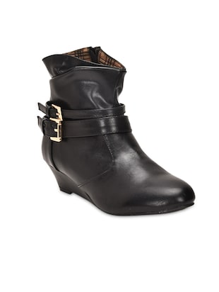 Black Buckled Faux Leather Ankle Boots