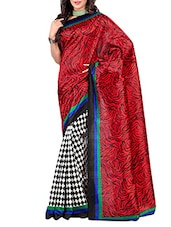 Red And Black Multi Printed Art Silk Saree - By