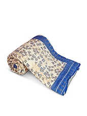 Off White Jaipuri Printed Cotton Double Bed Quilt - By