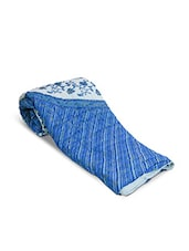 Blue Jaipuri Block Printed Cotton Double Bed Quilt - By