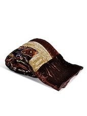 Brown Printed Velvet Cotton Single Bed Quilt - By
