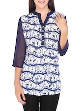 Navy And White Printed Cotton Top - By