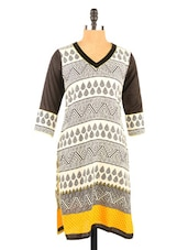 Black And Off White Quarter Sleeve Cotton Short Kurti - Fashion 205