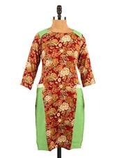 Floral Print American Crepe Maroon And Green Short Kurti - Fashion 205