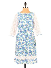Blue & White Floral Print Lace Sleeved Kurti - Fashion 205
