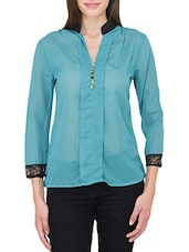 Green Georgette Laced Top - By