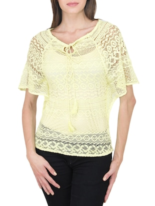 yellow net laced top