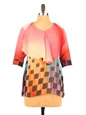 Graphic Print Quarter Sleeve Georgette Top - Fashion 205