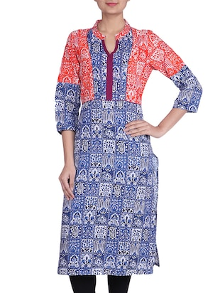 blue and white cotton printed kurta