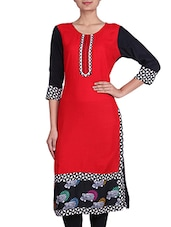 Red And Black Rayon Printed Kurta - By