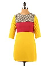 Color Block Qurter Sleeve Round Neck Top - Fashion 205