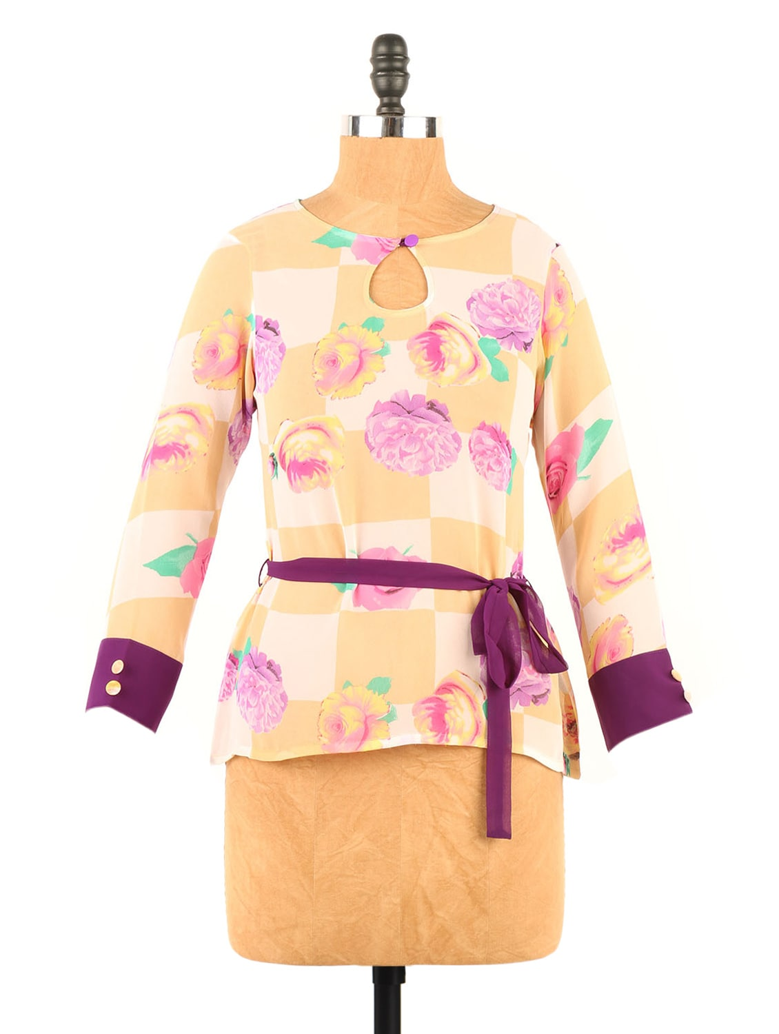 Floral & Check Print Georgette Fawn And Pink Top - Fashion 205