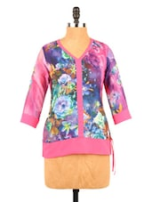 Pink & Blue Floral Print Quarter Sleeve Top - Fashion 205