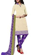 Beige Crepe Printed Unstitched Suit Set - By