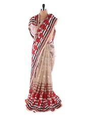 Beige Printed Georgette Saree - Saraswati