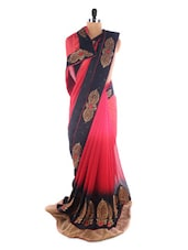 Chic Black And Red Brasso Evening Saree - Saraswati