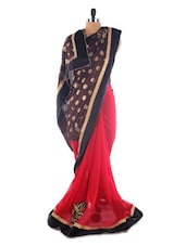 Luxe Red And Brown Brasso Saree - Saraswati