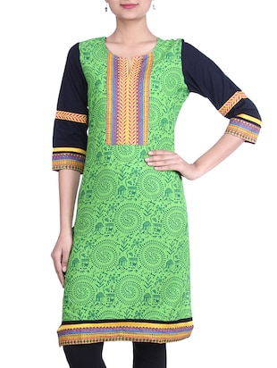 GREEN & BLACK COTTON KURTA