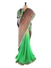 Brown And Green Brasso Saree - Saraswati