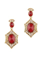 Gold And Red Stone Work Crystal Studded Earrings - By