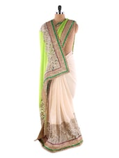 White Georgette Saree With Green Highlights - Saraswati