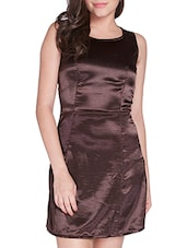 Brown Polyester Dress - By