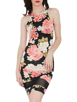 black floral printed cotton dress with mesh details