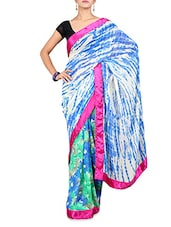 White And Blue Printed Georgette Saree - By