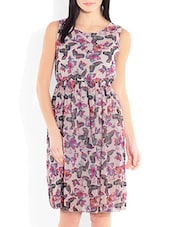 Off White Printed Poly Georgette Gathered Dress - By