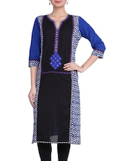 Black&blue Cotton Embroidered Kurta - By