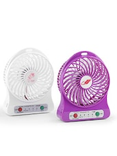 Portable Mini USB Fan Rechargeable Battery Operated With 3 Speed Pack Of 2 - By