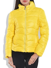 Solid Lemon Yellow Zippered Quilted Jacket - By