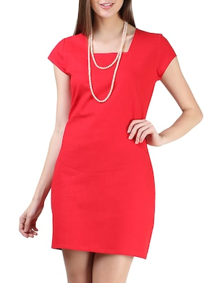 solid red square neck cotton dress