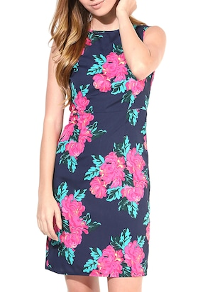 navy blue floral printed sleeveless dress
