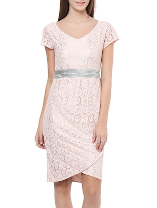 pink embellished floral laced asymmetrical dress