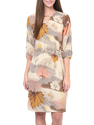 multicolored foliage printed quarter sleeved dress