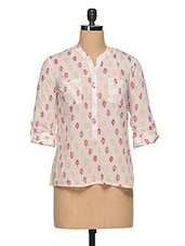 White-Pink Half-Placket Shirt - Oxolloxo