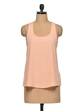 Peach Polyester Plain Sleeveless Top - Oxolloxo